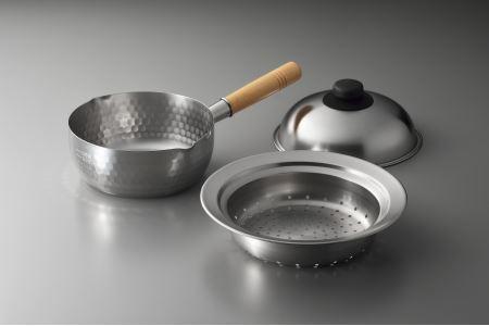 7041405 ステンレス雪平鍋18cm & お鍋に乗せて簡単蒸しプレート小 (ドーム型)