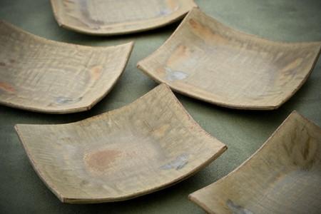 [P024] 真葉手灰釉長角皿 5枚セット