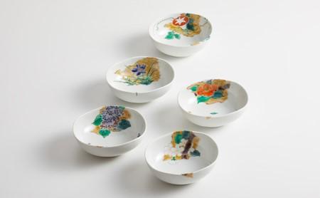 九谷焼 楕円鉢揃 四季の花 宮本晄作
