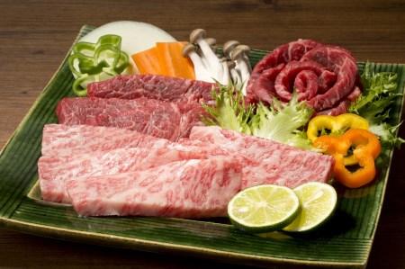 山梨県産 富士山麓牛 霜降り・赤身焼き肉セット(計約450g)