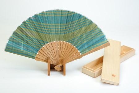 【2614‐0037】大石紬扇子(青緑)