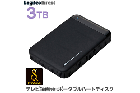 【AL-29】ロジテック SeeQVault対応 外付けHDD ポータブルハードディスク 3TB テレビ録画 テレビレコーダー シーキューボルト 2.5インチ USB3.1(Gen1) / USB3.0 【LHD-PBM30U3QW】