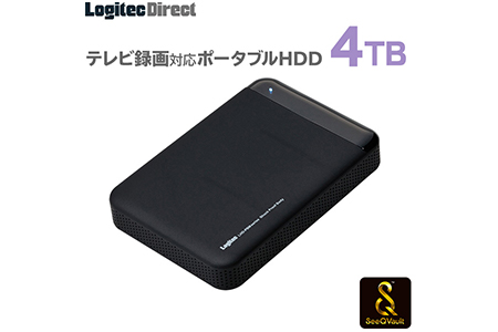 【AM-27】ロジテック SeeQVault対応 外付けHDD ポータブルハードディスク 4TB テレビ録画 テレビレコーダー シーキューボルト 2.5インチ USB3.1(Gen1) / USB3.0 【LHD-PBM40U3QW】