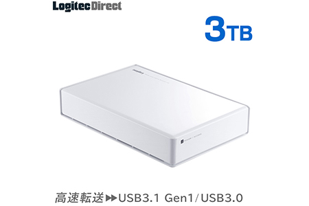 【035-02】ロジテック HDD 3TB USB3.1(Gen1) / USB3.0 国産 TV録画 省エネ静音 外付け ハードディスク テレビ 3.5インチ ホワイト 4K録画 PS4/PS4 Pro対応【LHD-ENA030U3WSH】