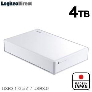 【045-02】ロジテック HDD 4TB USB3.1(Gen1) / USB3.0 国産 TV録画 省エネ静音 外付け ハードディスク テレビ 3.5インチ ホワイト 4K録画 PS4/PS4 Pro対応【LHD-ENA040U3WSH】