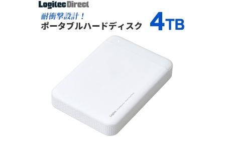 【090-03】【業界唯一の日本製】耐衝撃USB3.1(Gen1) / USB3.0対応のポータブルハードディスク(HDD)[4TB/ホワイト]【LHD-PBM40U3WH】