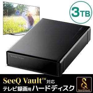 【060-12】ロジテック SeeQVault(シーキューボルト)対応 テレビ録画用  3.5インチ 外付けハードディスク 3TB【LHD-ENB030U3QW】