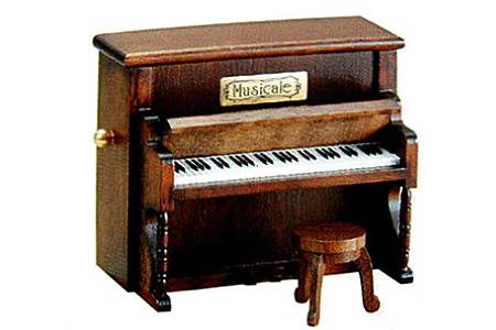 001-019 《 18弁オルゴール 》 ミニアンティーク(木製ピアノ)