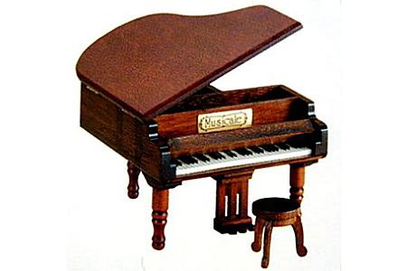 001-020 《 18弁オルゴール 》 ミニアンティーク (木製グランドピアノ)