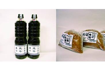 オリジナル醤油1,000ml2個+味噌1kg2個セット