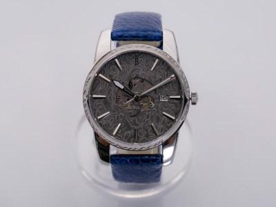 MUSHA Damascus Watch SAMURAI 【blue】 ~ダマスカス鋼 腕時計~ D300-11