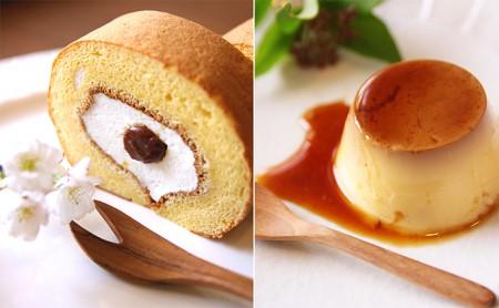 平飼い有精卵で作るロールケーキショートサイズとプリン2個