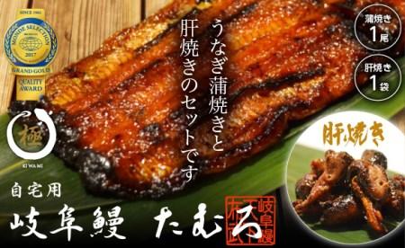 【2600-0116】 岐阜鰻たむろ極 うなぎ蒲焼き横綱1尾 と 肝焼き1袋(肝約5個入り)