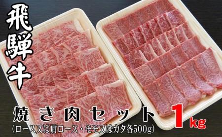 A5等級飛騨牛焼キ肉セット1kg (ロース又は肩ロース500g+モモ又はカタ500g)