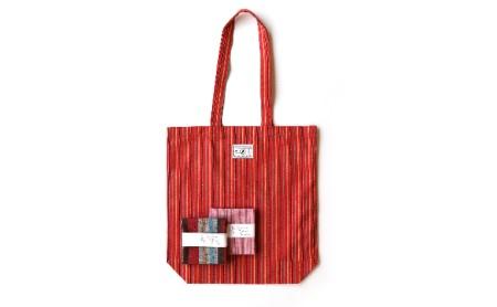 [№5786-1116]【遠州綿紬】はんかち2枚&エコバッグ 赤系