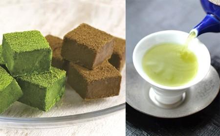 【島田の逸品】おとなの抹茶生チョコとほうじ生チョコ 贅沢深蒸し茶セット