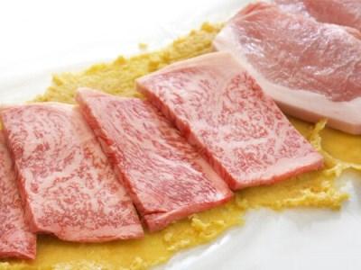 6_「遠州夢咲牛」と遠州麦豚「極楽豚」の特選白味噌漬けセット[2018]