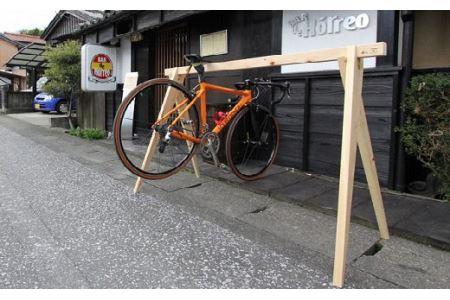 【3-40】桧製自転車ラック 宿輪木