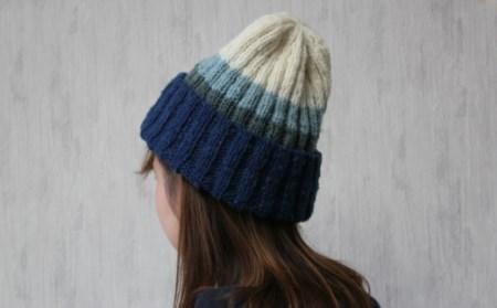[205]焼尻めん羊100%使用 手編みニット帽(グラデーション)
