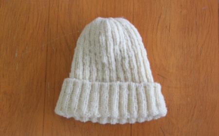 [206]焼尻めん羊100%使用 手編みニット帽(焼尻ホワイト)