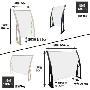 ヒサシールド 幅60cm×高さ80cm 支柱:白(窓口高さ15cm)