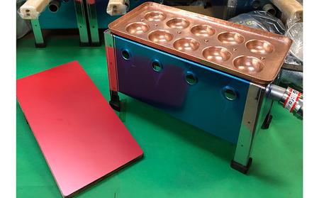 完全手打ち明石焼(玉子焼)銅鍋 10個厚手と専用コンロセット 揚げ板(赤)付 天然ガス用