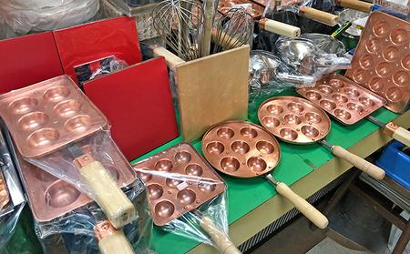 完全手打ち明石焼(玉子焼)銅鍋 10個厚手と専用コンロセット 揚げ板(赤)付 プロパンガス用