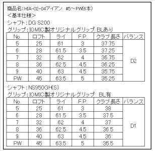 400BE11N.HIA-02-04アイアン #5~Pw(DG)