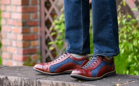 倭イズム 牛革×デニム紳士靴 YA3310 ワイン 24.5cm