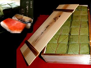 【0301-A18】柿の葉すし(吉野杉木箱入り)《たつみ》