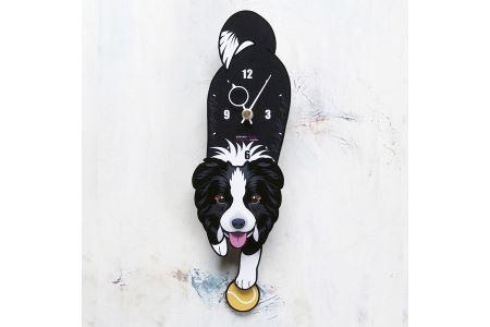 <D-66 ボーダーコリー-犬の振り子時計>