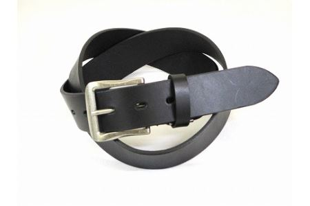(金具タイプB)革工房いんのしま牛革一枚革 ベルト【色:ブラック】 L寸