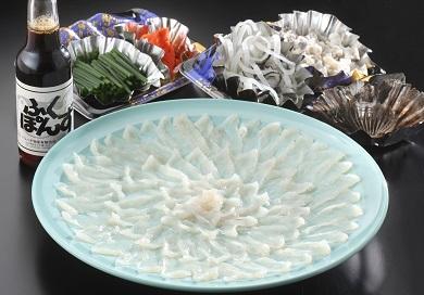 01B-009 とらふぐの刺身(33cmプラ皿)とふぐちりセット