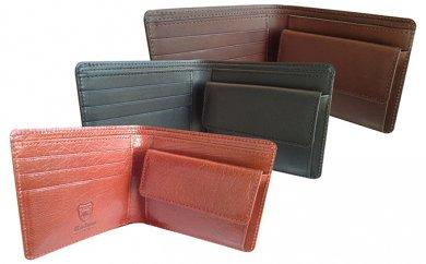 日本製2つ折り革財布(栃木レザー) ブラック