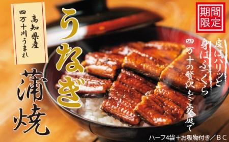 359.【期間限定】高知県産うなぎ蒲焼 ハーフ4袋+お吸物付き/BC