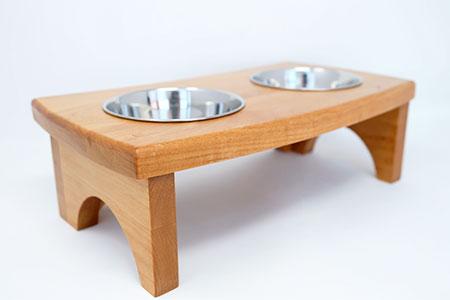 さくらねこ アルダー製フードボウルスタンド(2皿)