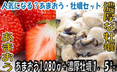B132.冬の定番セット.あまおう(1120g)・牡蠣(1.5キロ)セット.2020年11月以降配送
