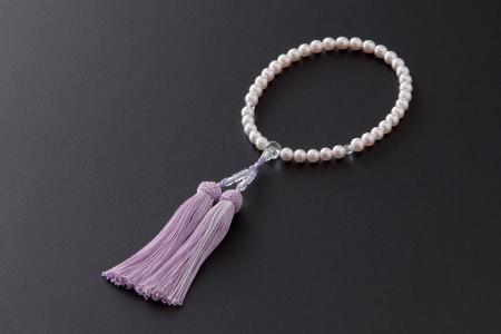 7.5㎜-8㎜アコヤ真珠念珠(正絹・桐箱付き)「藤色」H-242