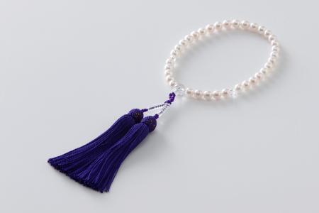 7.5㎜-8㎜アコヤ真珠念珠(正絹・桐箱付き)「紫」 H-188