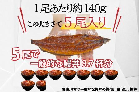 大幸園の国産うなぎ蒲焼 約140g×5尾 D-495