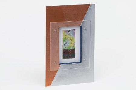 銅とアルミの対比が美しい「ハーフ&ハーフ ポストカードフレーム」 1個【お部屋をオシャレに演出!!】G-136