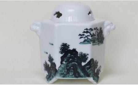 A50-107 有田焼 黒山水絵 六角香炉 (総柄)  起山窯