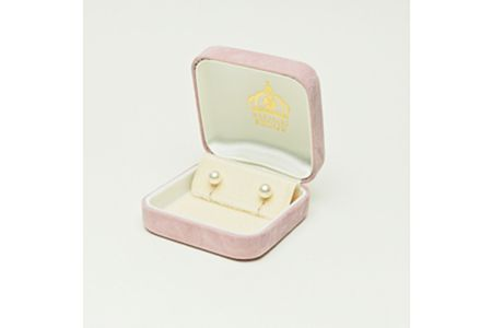 【2632-0049】アコヤ本真珠8.5-9.0mm K14WGイヤリング直タイプ