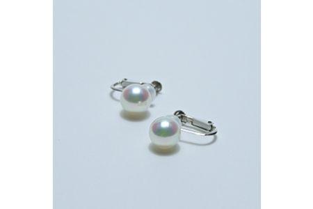 【2632-0057】アコヤ本真珠7.5-8.0mm K14WGイヤリング直タイプ