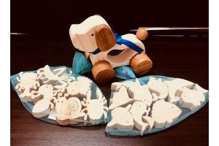 S052-001_手作り木工品 かわいいおもちゃと入浴材の2種セット