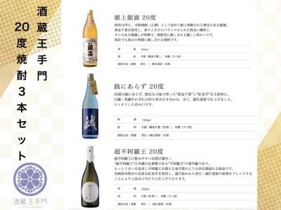 CB42-191 酒蔵王手門 20度焼酎3本セット
