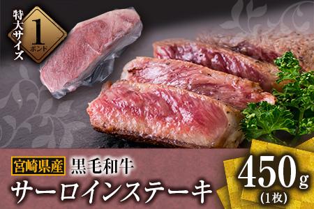 BB31-20 ≪特大サイズの1ポンド≫黒毛和牛サーロインステーキ(450g×1枚)
