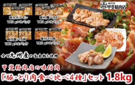 10-54 【(株)甲斐精肉店】自家製タレに漬け込んだ「味付肉 豚肉・とり肉 食べ比べ4種」セット 1.8kg