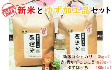 【10日前後でお届け】無洗米 令和3年産 コシヒカリ6kgとゆず加工品セット<1-176>