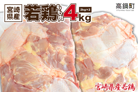 <宮崎県産若鶏もも肉4kg>翌月末迄に順次出荷【c429_hn_x1】